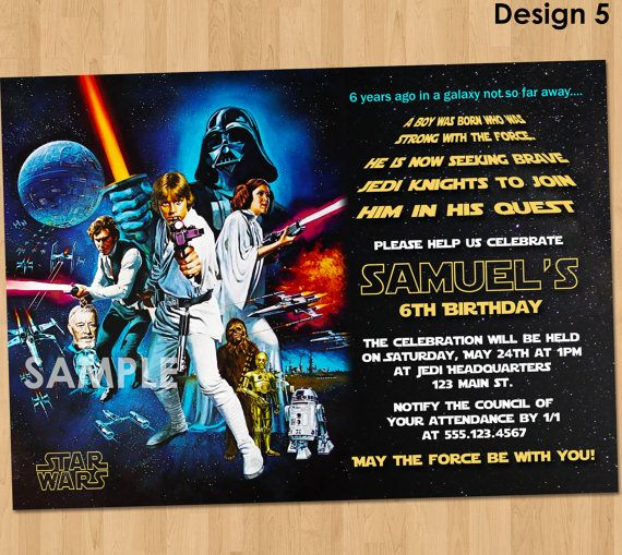 Star Wars Birthday Invitation Star Wars by KidsPartyPrintables