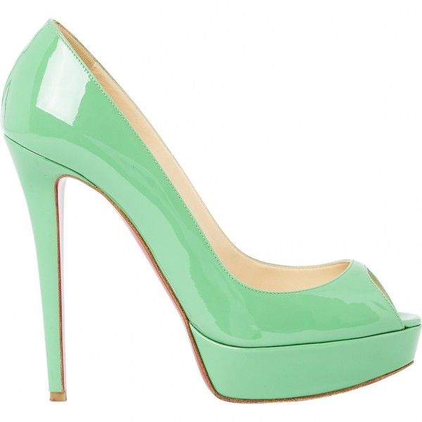 Pre-owned Christian Louboutin Patent Leather Court Shoes ($349) ❤ liked on Polyvore featuring shoes, louboutin, green, christian louboutin shoes, patent leather shoes, green patent leather shoes, patent shoes and green patent shoes