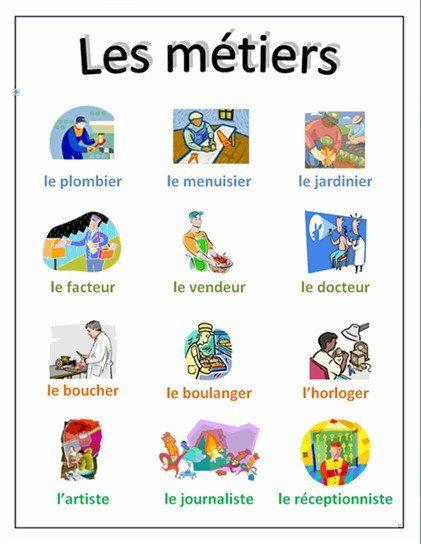 """Les métiers - Jobs in French  Les Francais travaillent moins que les Am´ericains. En partie, pour des raisons agréables : ils ont plus de six semaines de vacances payées et de jours f´ériés; la semaine de travail est de 35 heures; ils prennent la retraite à 60 ans; les jeunes font des études plus longues. Mais en partie aussi pour des raisons """"tristes"""" : il y a beaucoup de chômage en France (10-12%),"""