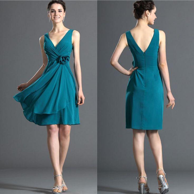 Aliexpress.com: Comprar Pretty señora joven dama de honor vestidos cortos 2015 flor de la gasa con cuello en v vestidos formales de las colmenas vestidos de ...