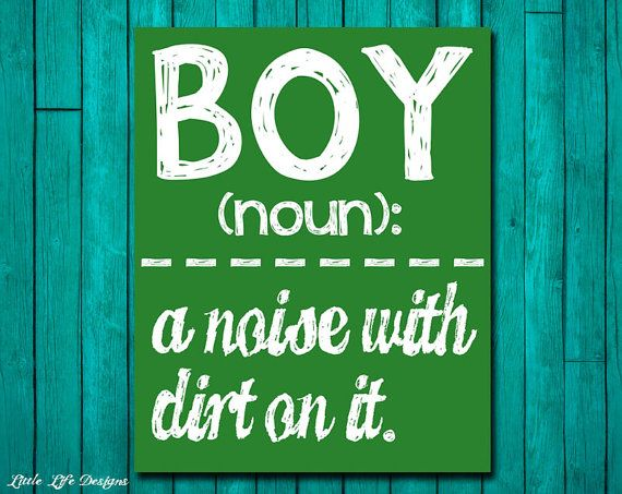 Boy Wall Art - Boy Room Decor - BOY: a noise with dirt on it. Wall Art and Home Decor.