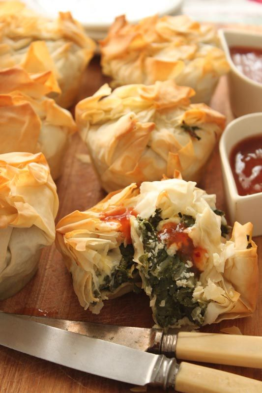 Spinach, Feta and Goat's Cheese Parcels with Sweet Chilli Chutney