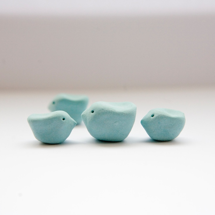 Turquoise chicks tiny little miniature bird sculpture family four ceramic birds. £9.95, via Etsy.