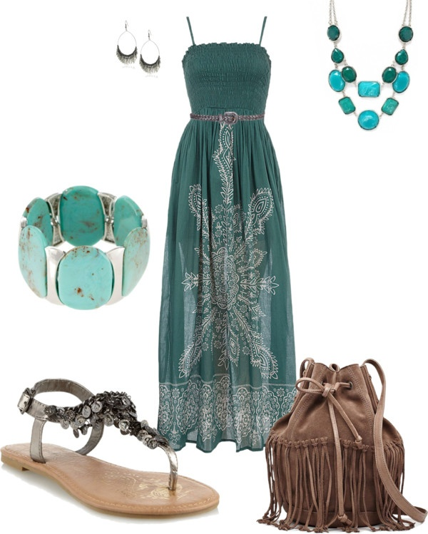 """Turquoise Maxi Dress w/ Belt"" by amyjoyful1 on Polyvore I like everything but the bag I can live without that lol"
