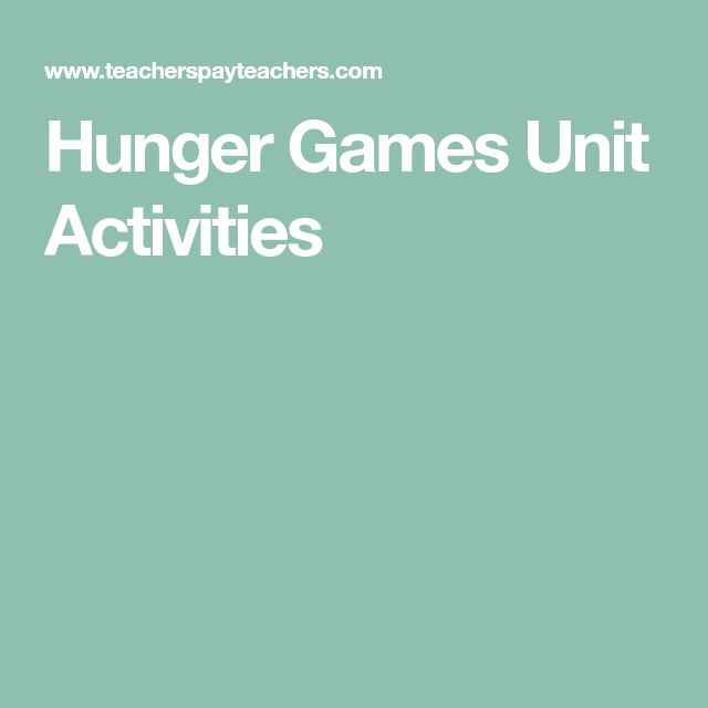 Hunger Games Unit Activities