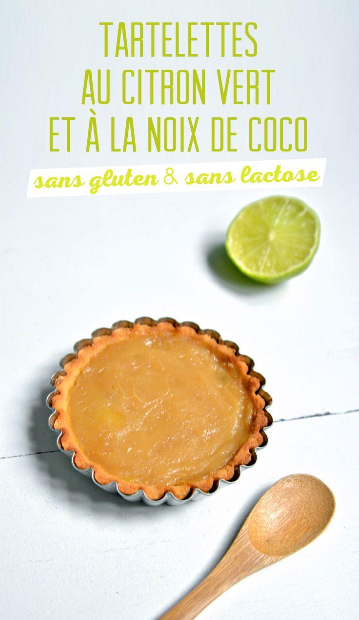 Des tartelettes sans gluten et sans lactose au citron vert ! On sent bien le citron vert, la pâte à tarte n'est pas collante, elle est super bonne et donne un goût léger de noix de coco.