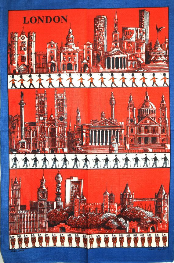 Lamont London England Tea Towel  Vintage Kitsch Big by FunkyKoala