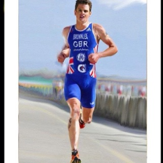Painting of triathlete Jonny Brownlee LEEDS