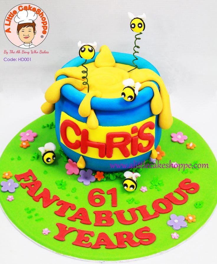 3D Honey pot custom cake.  www.alittlecakeshoppe.com