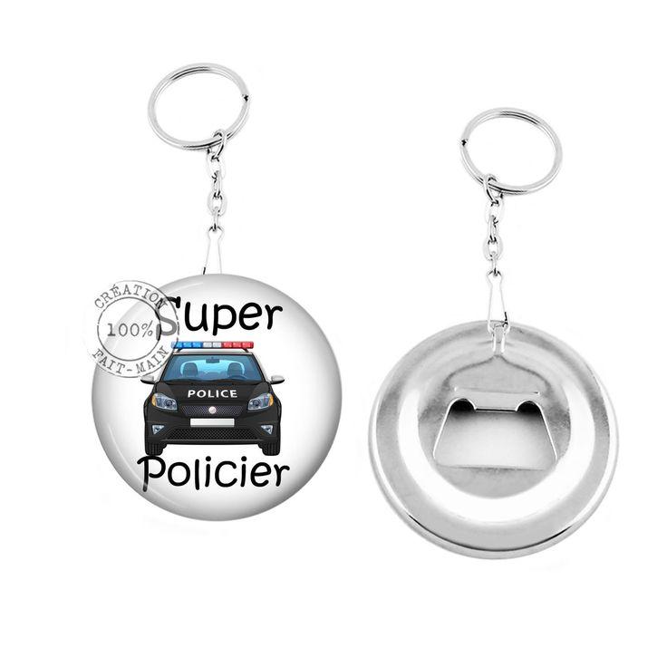 Porte clé décapsuleur / cadeau mon super policier : Porte clés par bijoux-martika-creation