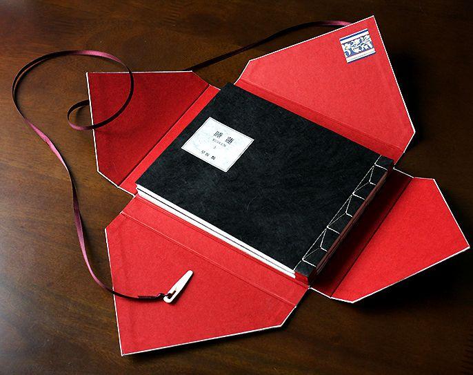 "早坂類 小説『睡蓮』佐藤りえ装丁・手製本(和装本) - RANGAI shop--book bound in Eastern style. Case named ""Tsubakuro""."