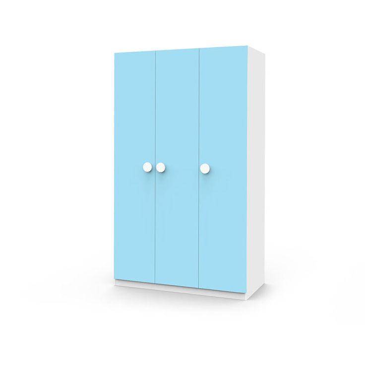 Голубой трехдверный шкаф для детской комнаты купить в интернет-магазине мебели https://lafred.ru/catalog/catalog/detail/18252847309/