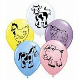 59 - Barnyard Bash Balloons. Pack of 8 28cm Farm Animal Assorted Yellow, Pink, Pale Blue, White & Spring Lilac Latex Balloon - Pack of 8