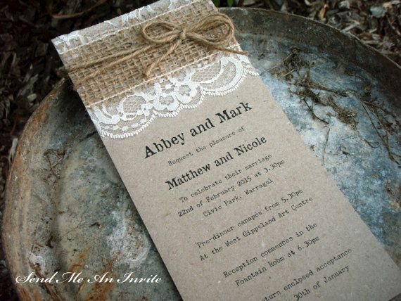 Wedding Invitation Rustic Lace and Hessian with Jute String on Recycled Kraft Card - SAMPLE