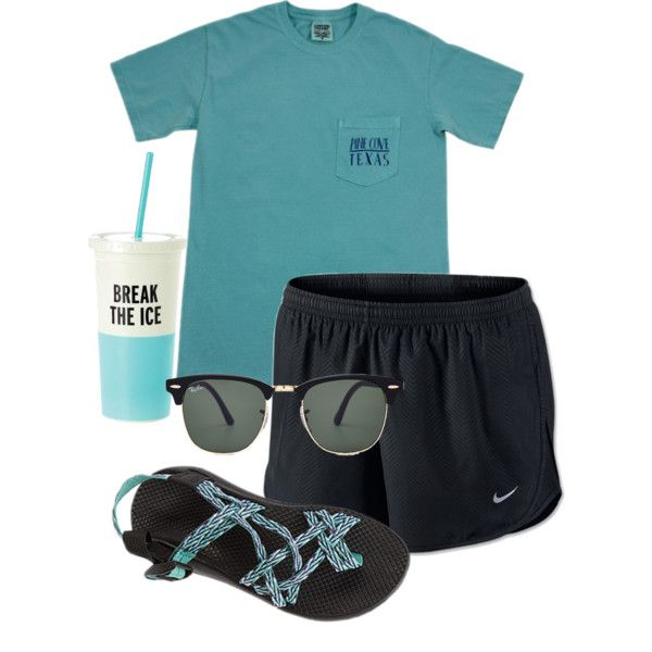 A fashion look from August 2015 featuring NIKE activewear shorts, Chaco sandals and Ray-Ban sunglasses. Browse and shop related looks.