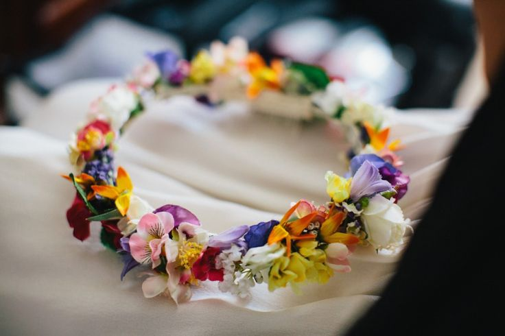 A Colourful Floral Crown for a Whimsical Wedding in Dorset | Photography by http://www.richardskinsphotography.co.uk/