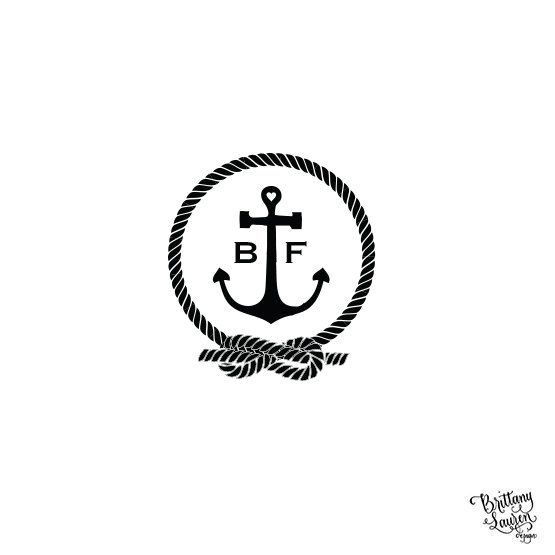 "Self Inking or Wood Nautical Theme  Personalized Custom Rubber Stamp - 2""x2"" - Anchor Tying the Knot Rope - DIY"