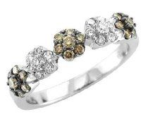 18k Gold White and Chocolate Brown Diamond Anniversary Ring Band, Size 7 (GH, I1-I2, 0.66 carat)  Buy Now $1179.99