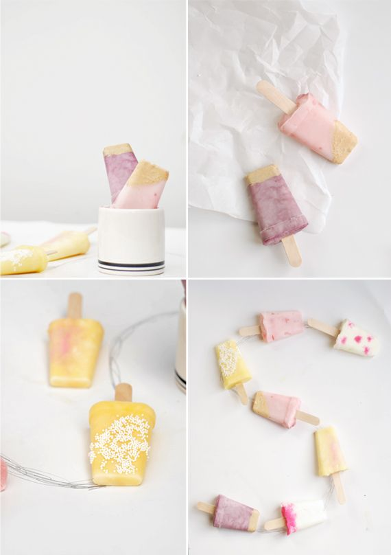 Gourmet DIY yogurt pops.  I would, of course, use my homemade yogurt and add our freshly-picked berries... and maybe a touch of honey from our bees! :)