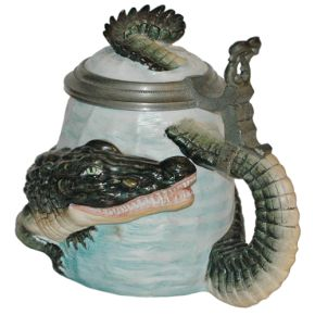 Character Stein 1/2L Bohne Porcelain alligator- German Beer Stein