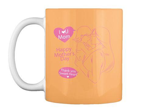 I Love U Mom Peach T-Shirt Front