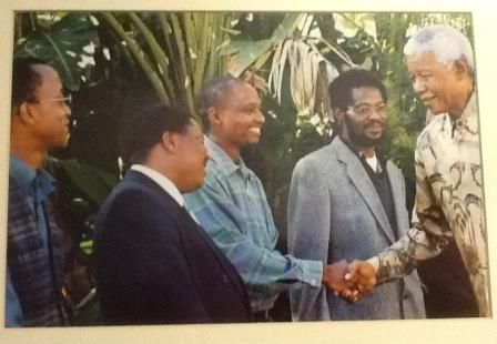 "SABC Radio Archivists shaking Nelson Mandela's hand in 1999 - with the launch of his CD ""The voice of Nelson Mandela"" in 1999. http://sabcmedialib.blogspot.com/2013/07/nelson-mandelas-voice-priceless.html"