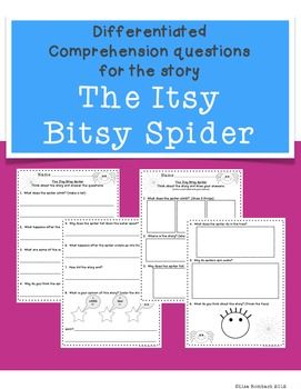 Differentiated Comprehension Questions for The Itsy Bitsy Spider $