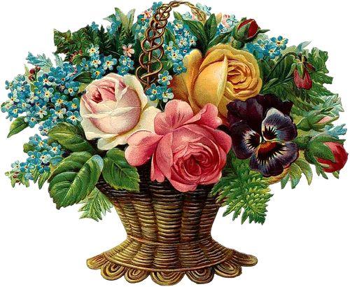 Flor Lilás Vintage: Cesto de Flores Vintage Vitorianas