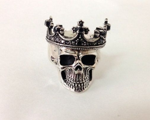 Sterling Silver 925 Crown Skull Ring by BlackSnowCustom on Etsy