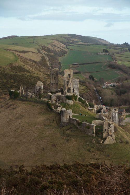 ༺✿༺ Corfe Castle ruins, Dorset, England.