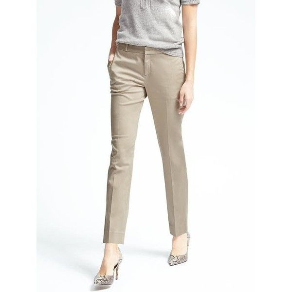 Banana Republic Ryan Fit Sateen Pant ($71) ❤ liked on Polyvore featuring pants, golden beige, petite, slim straight pants, white slim fit pants, tall pants, straight leg trousers and short pants