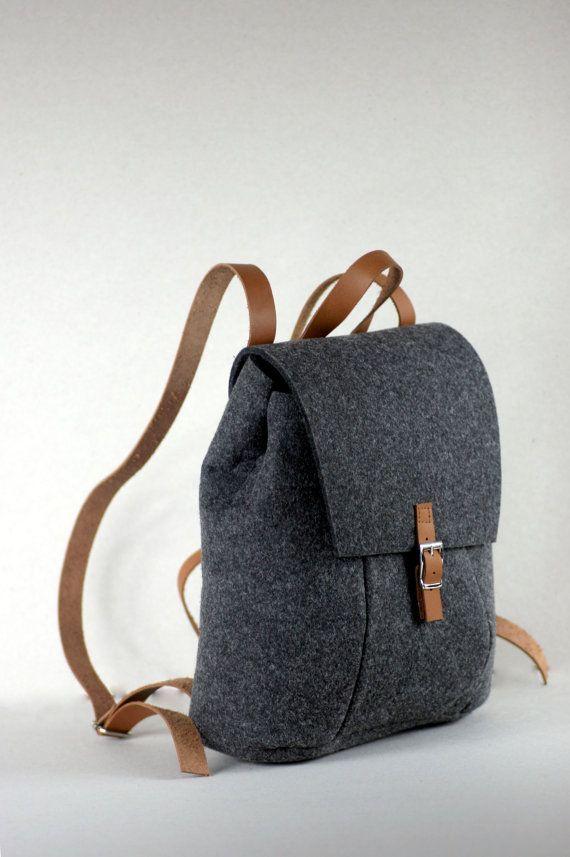 FELT LEATHER RUCKSACK bag backpack por FUTERAL en Etsy