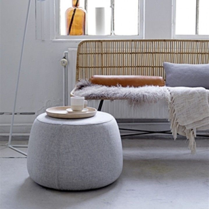 Danish designed Rock Pouf by Bloomingville.   Material: 100% Wool  Colour: Light Grey  Size: Diameter 55 x Height 40cm