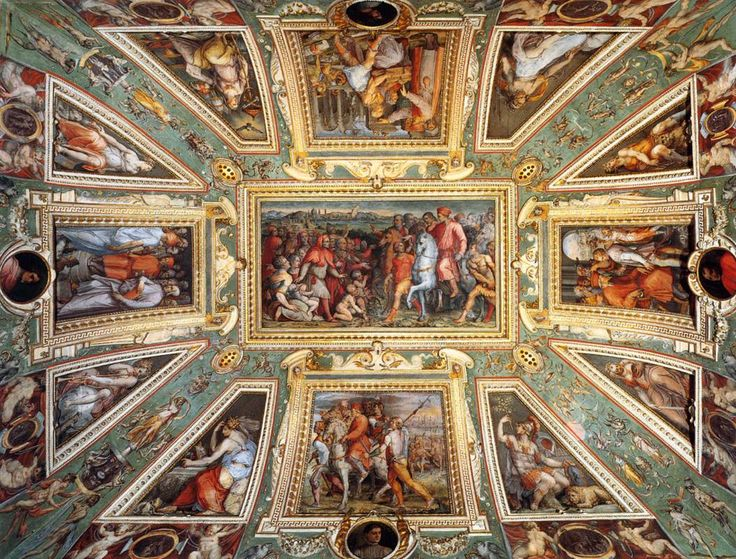 Giorgio Vasari and assistants decorated the ceiling of the Sala di Cosimo il Vecchio in the Palazzo Vecchio in Florence. Description from pinterest.com. I searched for this on bing.com/images