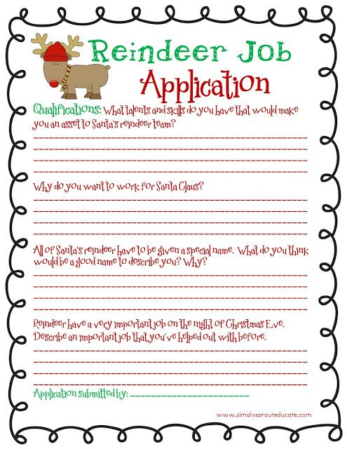 Reindeer job application fun Christmas writing activity for kids. Seen this done with kids pictures, they add their own antlers and nose. Very cute.