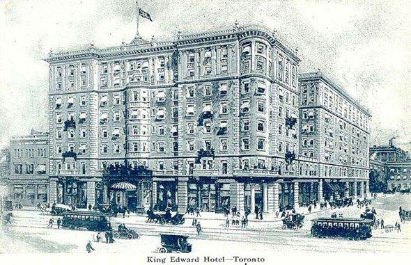 toronto 1900sThe King Edward Hotel as it appeared when it opened in 1903. Designed by Chicago architect Henry Ives Cobb and E. J. Lennox (famous for his design of Old City Hall,) work began in 1901. As part of the plan, Victoria St. was extended south of King to Scott St. It was named in honour of King Edward VII shortly before it opened in honour of Canada's newly-crowned monarch.