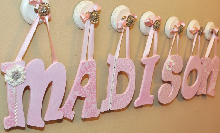 Painted Wooden Nursery Letters Custom Baby Decor Name Wall Hanging Any Bedding Price Is Per Letter