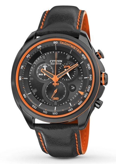 Montre Citizen eco-drive homme AT2185-06E, fonction tachymètre, chronomètre et date, cadran noir.