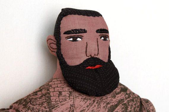 Dark Bearded Tattooed Man doll plush toile by MimiKirchner on Etsy