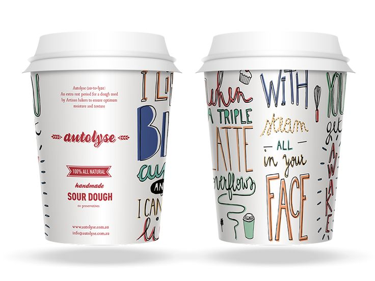 Custom typography for takeaway coffee cup designs for Autolyse, a new artisan bakery in Canberra, Australia. Mockup is a little dodgy, but real pixels attached. Check it.  I like BIG cups and I can...