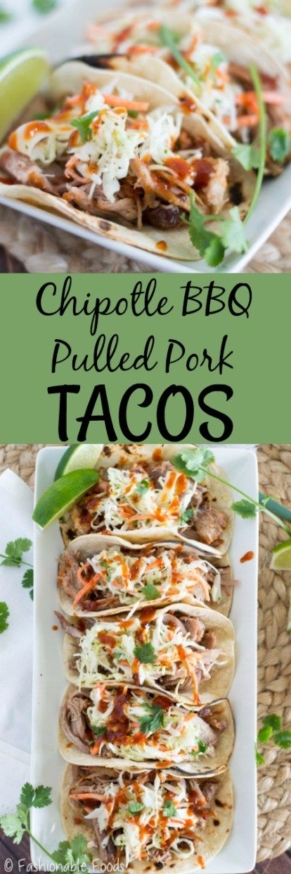 A fun twist on the classic pulled pork and coleslaw… tacos! Chipotle BBQ pulled pork tacos are full of sweet and spicy flavor. The creamy cilantro lime coleslaw finishes them off perfectly!
