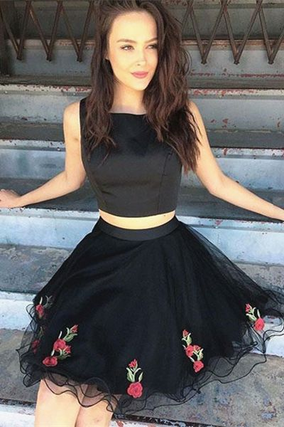 two piece black party dresses, fashion short prom dress with appliques, simple short formal dresses