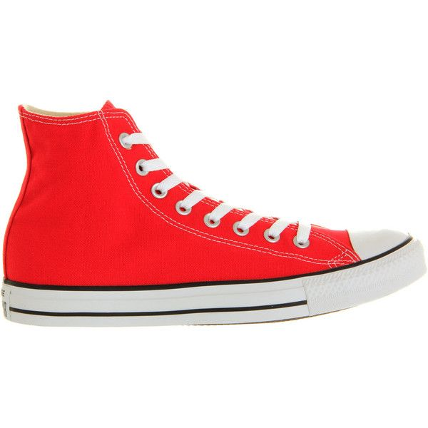Converse All Star Hi ($60) ❤ liked on Polyvore featuring shoes, sneakers, lace up sneakers, red shoes, red high top shoes, red high tops and red high top sneakers
