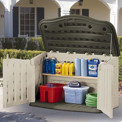 Rubbermaid, 135-gallon, horizontal storage shed, (L x W x H): 28.0x55.0x36.0