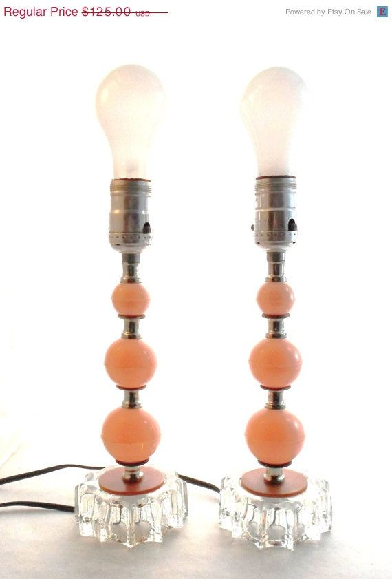 ON SALE Vintage Mid Century Modern Lamp Set Peachy Pink Plastic Balls With Clear Glass Chrome Spacers Atomic Shabby Chic Hollywood Regency