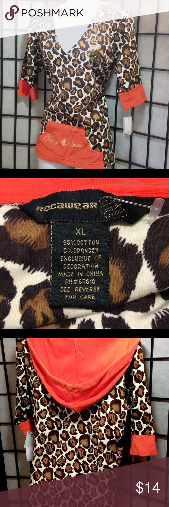 """Woman's ROCAWEAR SLEEP SEXY Hoodie Animal Print ~Brand: NEW Woman's ROCAWEAR Sleep Sexy Animal Print Hoodie Top  ~Material: 95% Cotton / 5% Spandex ~Condition: NWT  ~Size: XL ~Approx. measurements (Laid Flat): ~Armpit to Armpit:  18"""" ~Sleeve: 13"""" ~Length: 25.5""""  ~Check out my other items ~Smoke free home :BL Rocawear Tops Sweatshirts & Hoodies"""