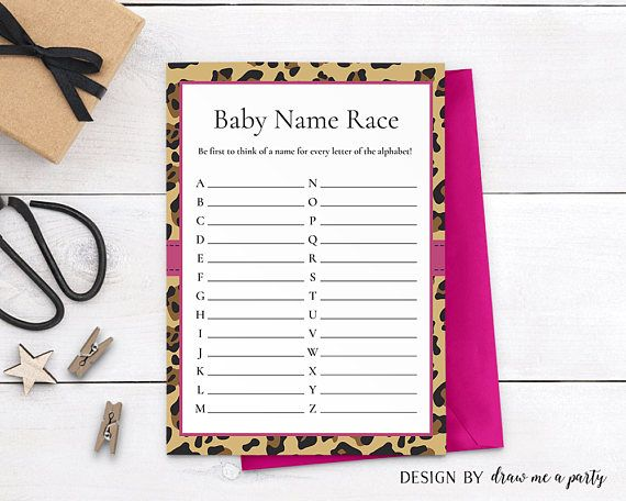 LEOPARD BABY SHOWER  Baby Name Race  Baby Names Game
