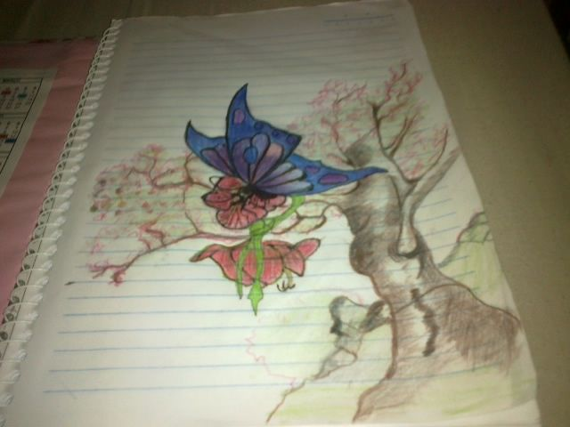 Desenho com lápis de cor para capa de pasta escolar da Professora Carla Beling