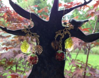 Ladybug, Love Bugs. Cloisonné Chandelier Earrings.
