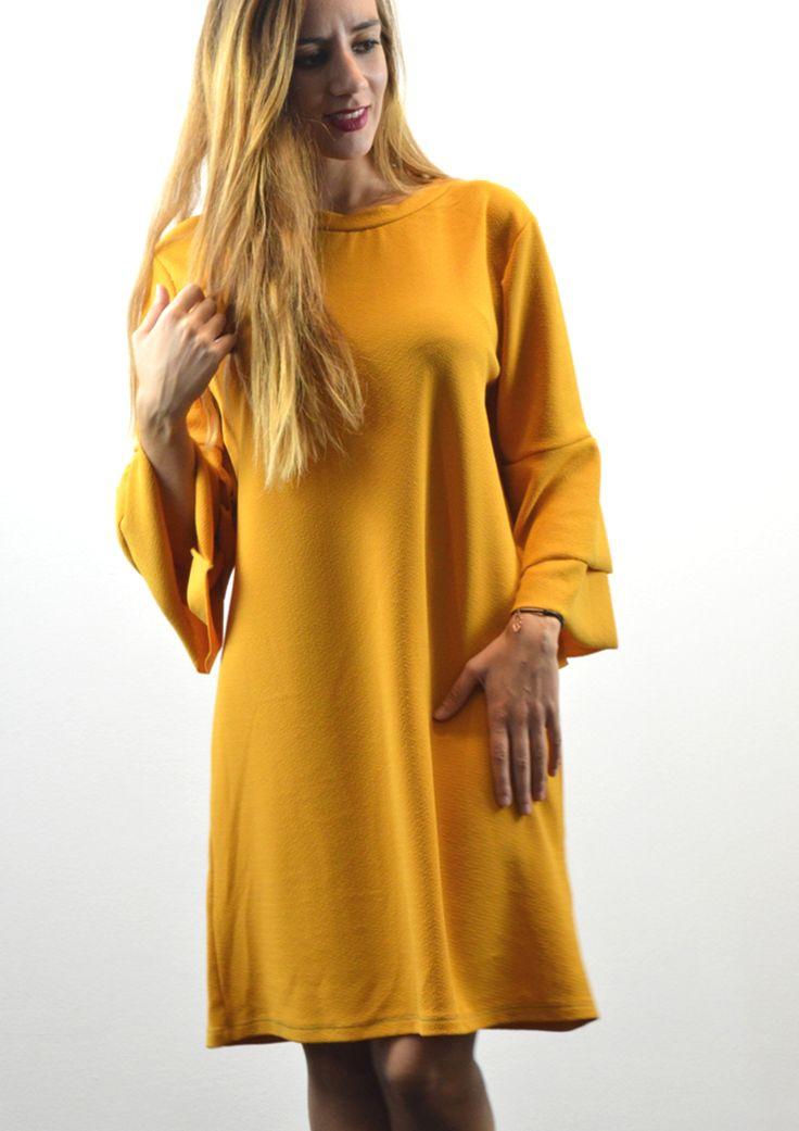 Φόρεμα Ριχτό με Διπλό Καμπάνα Μανίκι - ΚΙΤΡΙΝΟ | shop online: www.musitsa.com